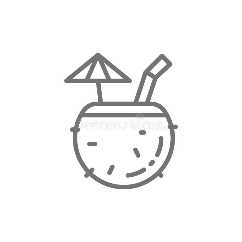 Cóctel tropical en el coco, línea exótica icono de la bebida del alcohol libre illustration