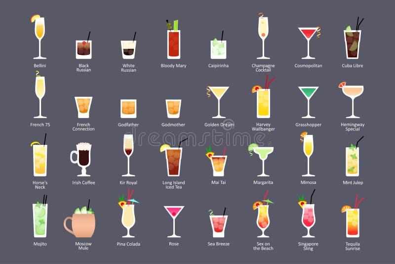 Cócteles alcohólicos, obras clásicas oficiales del contemporáneo de los cócteles de IBA Los iconos fijaron en estilo plano en fon ilustración del vector