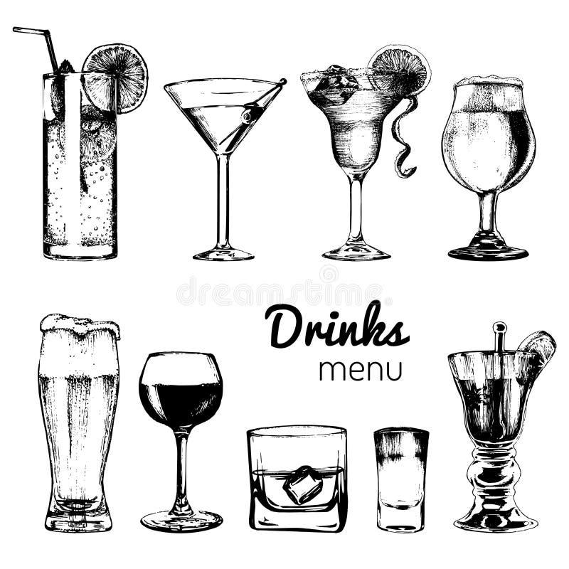 Cócteles, bebidas y vidrios para la barra, restaurante, menú del café Ejemplos dibujados mano del vector de las bebidas alcohólic ilustración del vector