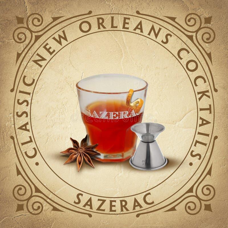 Cócteles clásicos icónicos históricos de New Orleans ilustración del vector