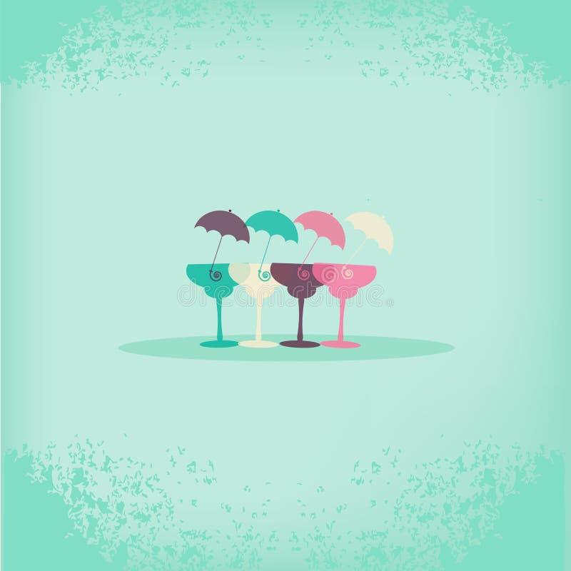 Cócteles con los paraguas stock de ilustración