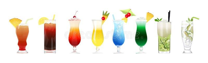 Cócteles del alcohol fijados ilustración del vector