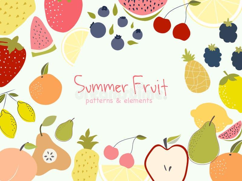 Cócteles del color del verano del vector Imagen del vector de los pájaros de las hojas de palma de la bandera de la fruta del ver libre illustration