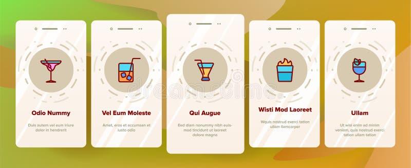 Cócteles, pantalla móvil de la página del App de Onboarding de los refrescos del alcohol libre illustration
