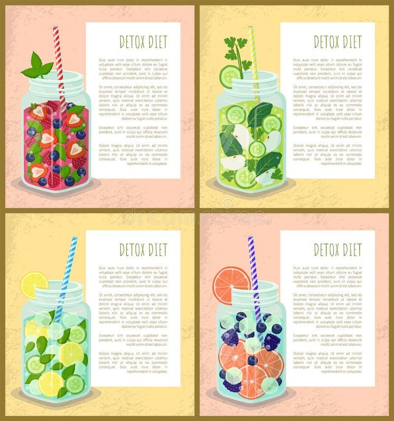 Cócteles vegetarianos jugosos de los carteles determinados de la dieta del Detox libre illustration