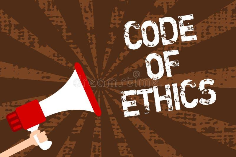 Código ético de la escritura del texto de la escritura El concepto que significa moraleja gobierna al buen hombre del procedimien ilustración del vector