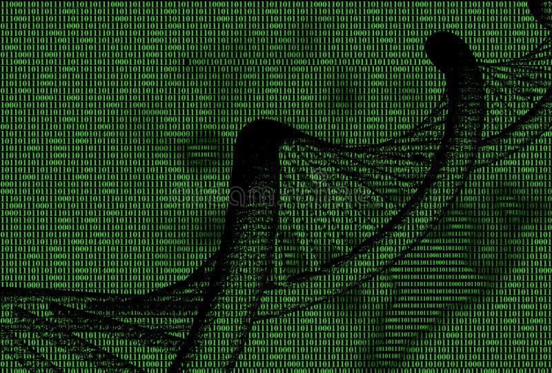 código binário com molécula do ADN ilustração do vetor