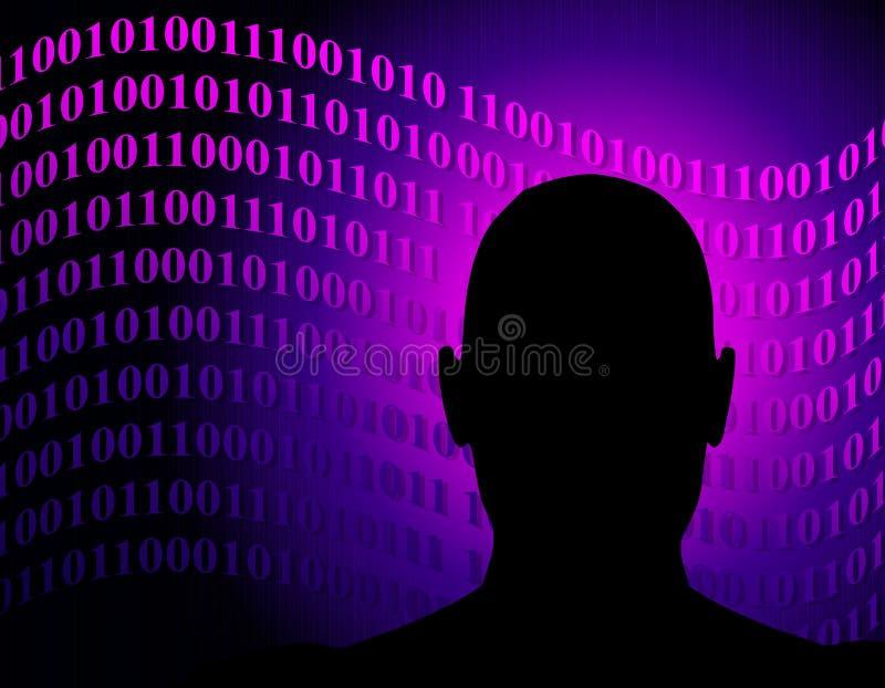 Código binário da rede anónima ilustração do vetor