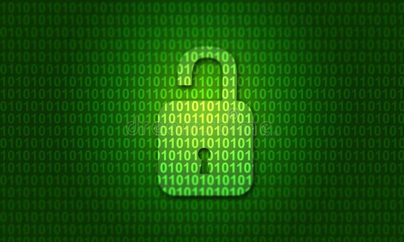 Código binário de Digitas com fechamento aberto imagens de stock royalty free