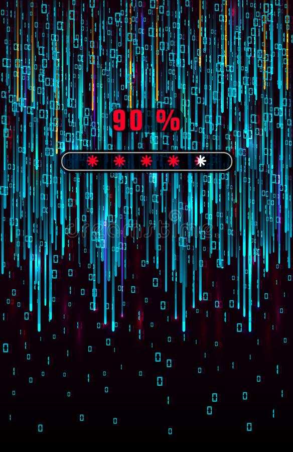 Código binário de Digitas Tiro da matriz Background Dígitos azuis de queda na tela com a barra de carga dos dados Conceito abstra ilustração stock