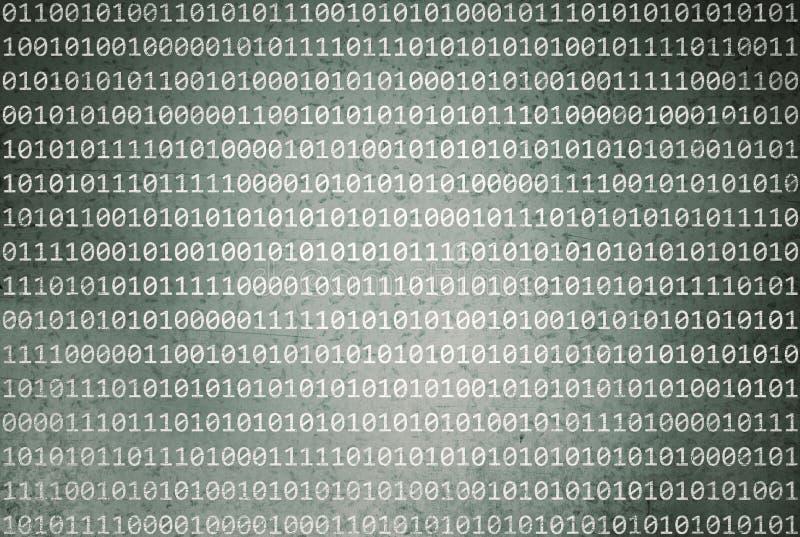 Código binário do Grunge no fundo abstrato do verde azeitona ilustração stock