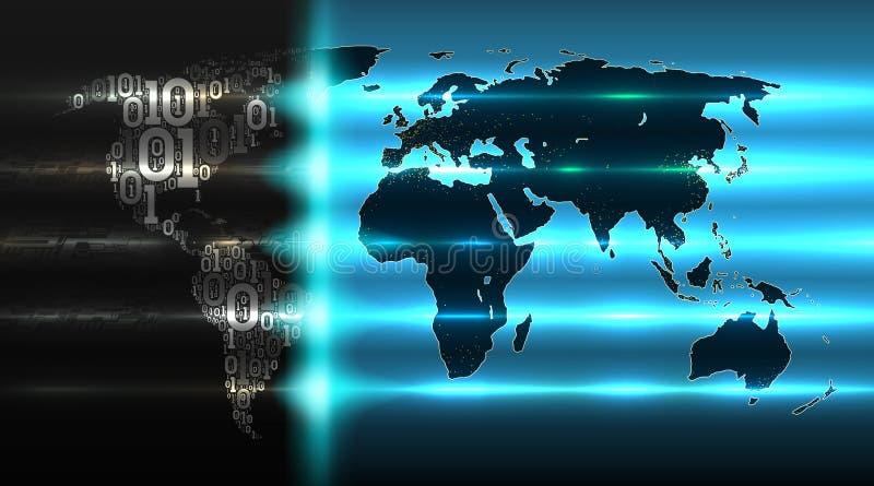 Código binário do mapa do mundo com um fundo de placas de circuito abstratas Conceito do serviço da nuvem, iot, ai, dados grandes ilustração stock