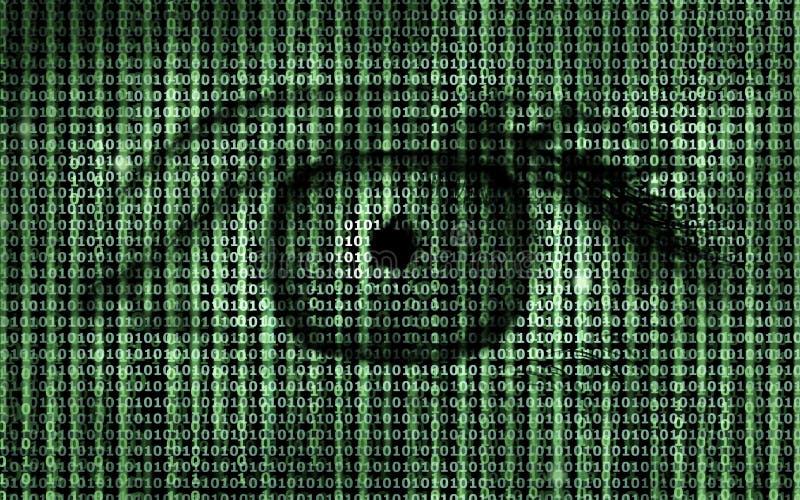 Código binário do programa da matriz com fundo do olho humano ilustração royalty free