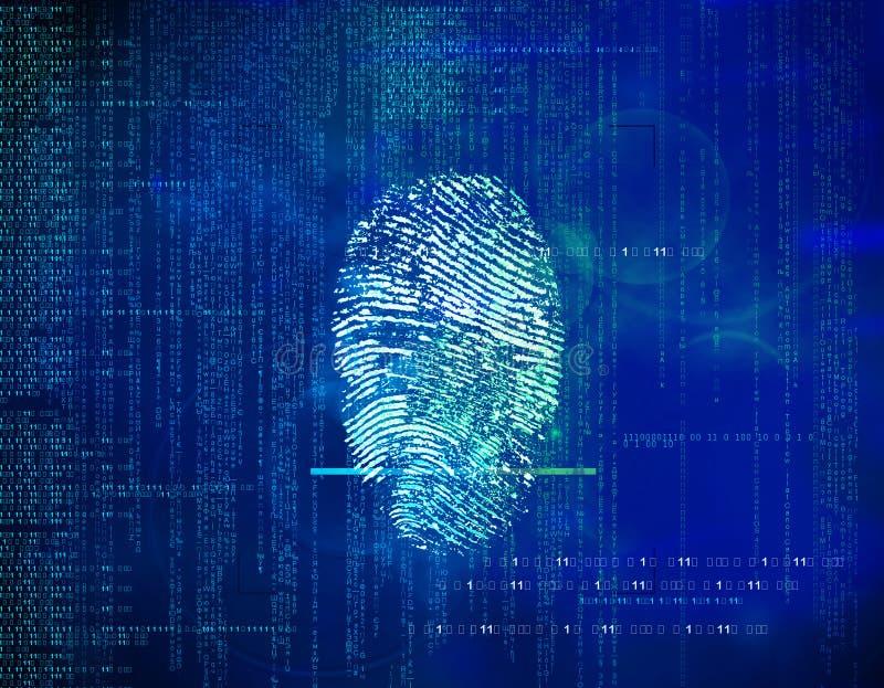 Código binário e impressões digitais do fundo futuro azul abstrato imagens de stock royalty free