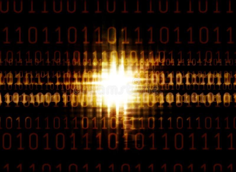 Código binário e a luz de incandescência ilustração royalty free