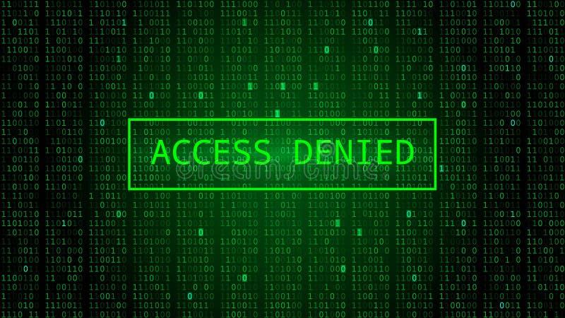 Código binário em escuro - contexto verde Acesso negado ilustração do vetor