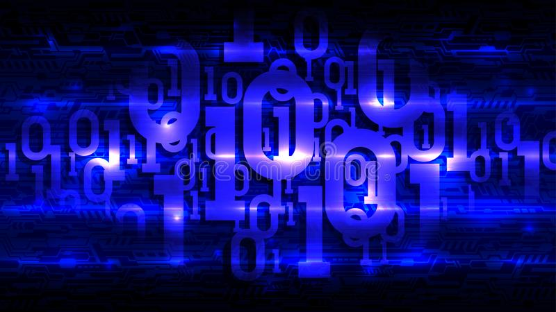Código binário no fundo escuro da placa de circuito abstrata, código digital da matriz azul no armazenamento futurista abstrato d ilustração royalty free