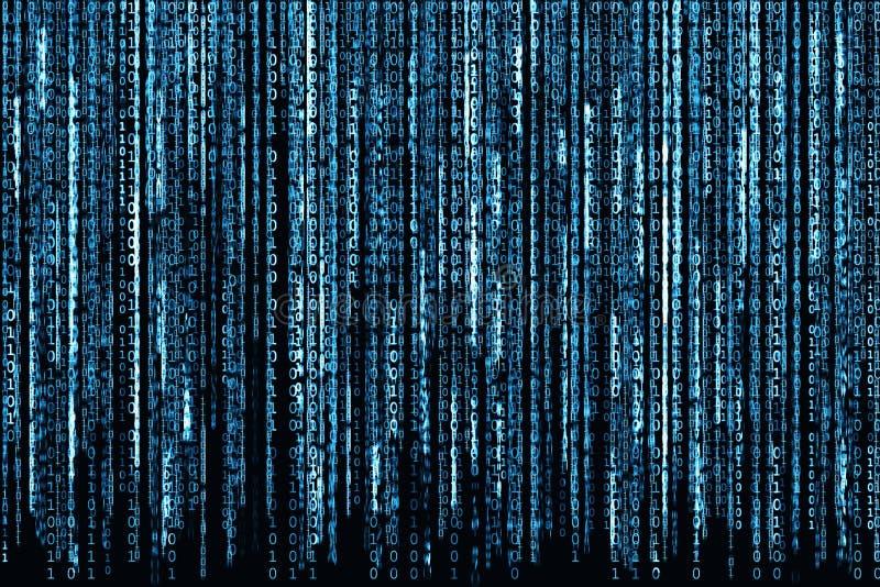 Código binario azul stock de ilustración