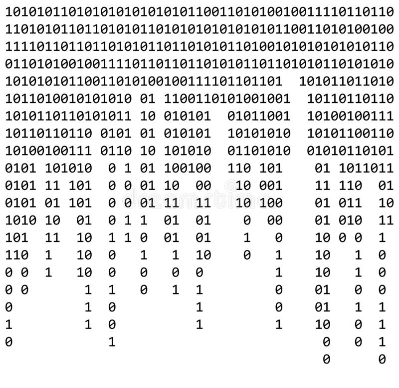 Código binario cero un wa hermoso de la bandera del fondo blanco de la matriz stock de ilustración