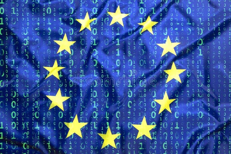 Código binario con la bandera de unión europea foto de archivo