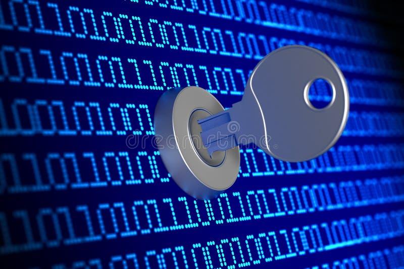 Código binario de Digitaces con llave en fondo azul ilustración 3D stock de ilustración