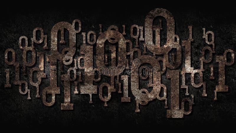 Código binario de la matriz oxidada, software anticuado, fondo celular aherrumbrado oscuro con el código binario digital, intelig stock de ilustración