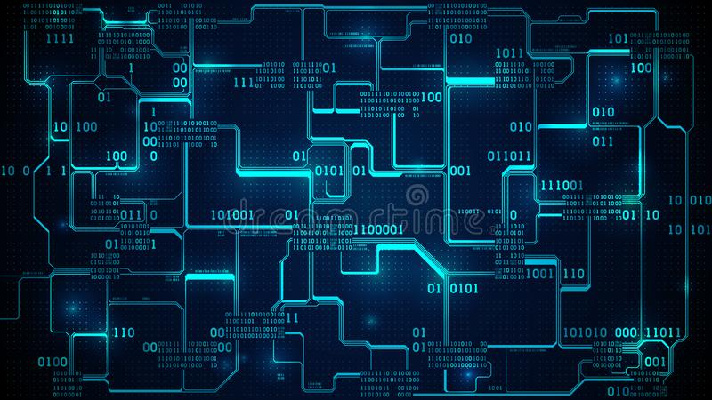 Código binario de la placa de circuito electrónica abstracta, red neuronal y datos grandes - inteligencia artificial, fondo de la ilustración del vector