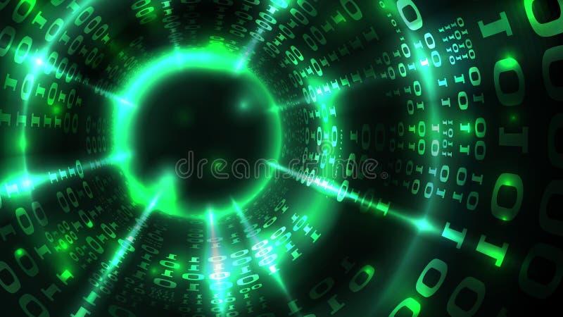 Código binario del ordenador de los datos de la matriz abstracta del fondo, secuencia de datos, vínculo abstracto Cortar el siste stock de ilustración