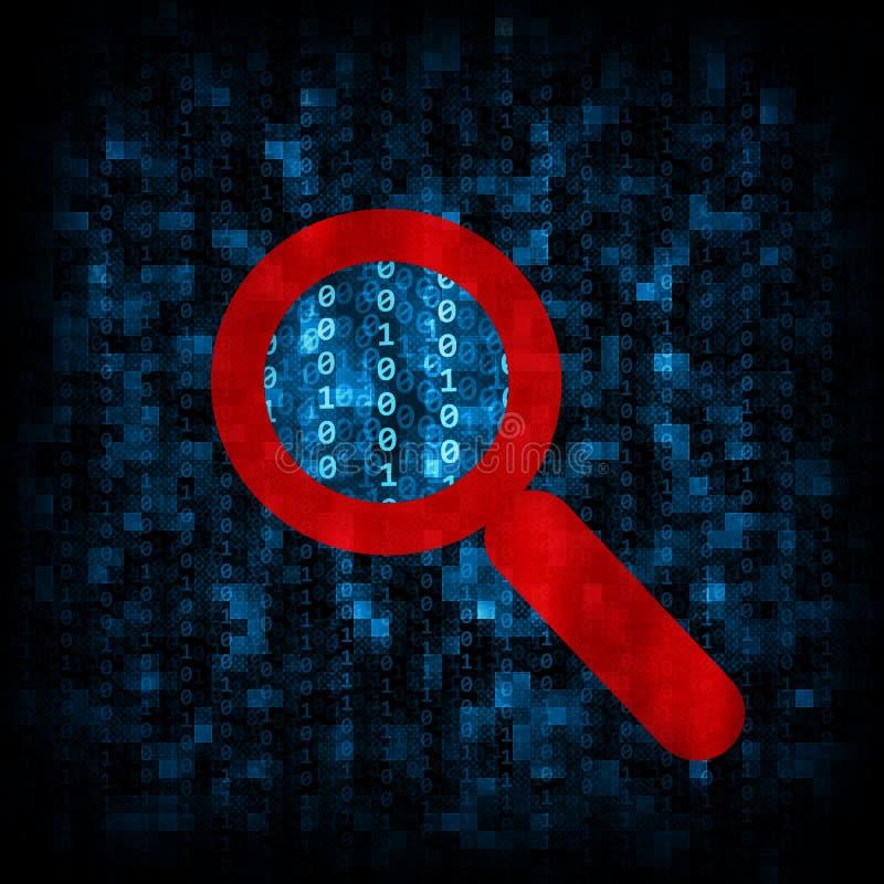 Código binario e icono de la lupa imágenes de archivo libres de regalías