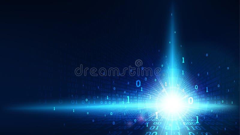 Código binario en ciberespacio futurista abstracto, código digital del fondo azul brillante de la matriz, datos grandes en servic stock de ilustración