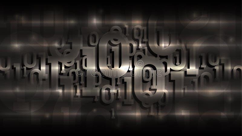 Código binario en un fondo oscuro, código digital en ciberespacio futurista abstracto, inteligencia artificial, vector de la matr stock de ilustración