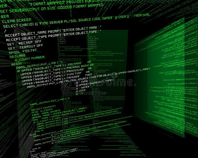Código binario en verde en TFT en 3d stock de ilustración
