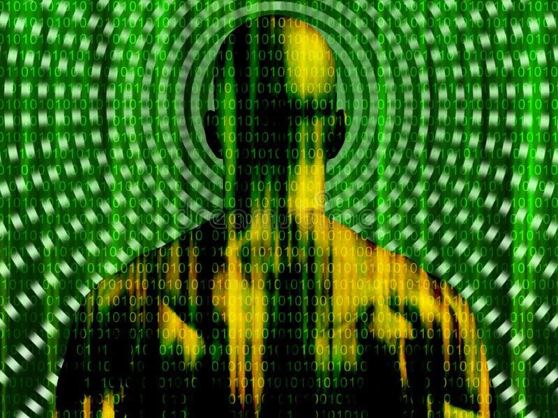 Código binario que fluye al hombre ilustración del vector