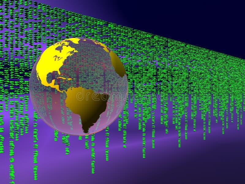 Código binario sobre el Internet, globo del mundo. ilustración del vector