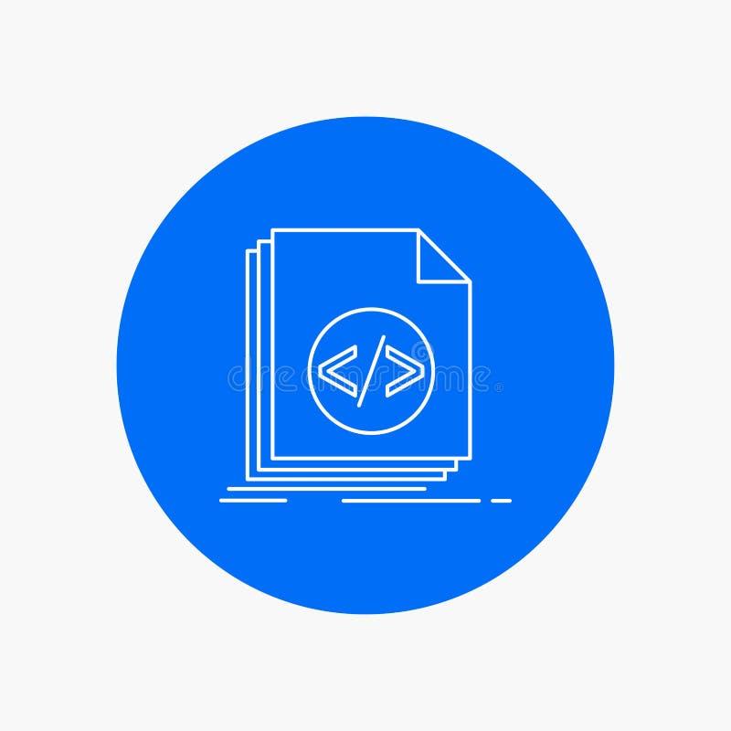 Código, codificação, arquivo, programando, linha branca ícone do roteiro no fundo do círculo Ilustra??o do ?cone do vetor ilustração royalty free