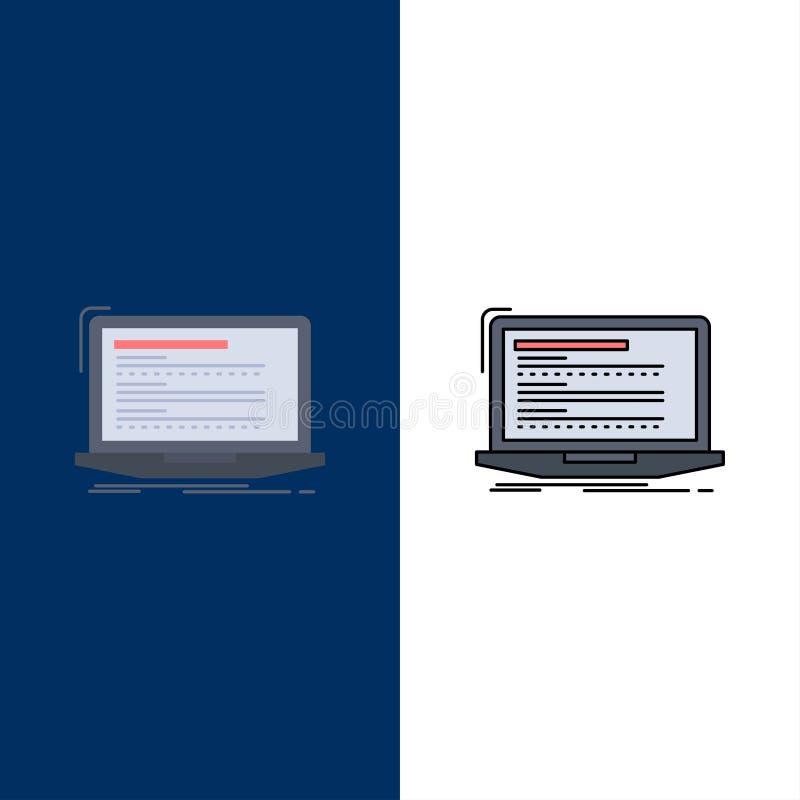 Código, codificação, computador, monoblock, vetor liso do ícone da cor do portátil ilustração stock