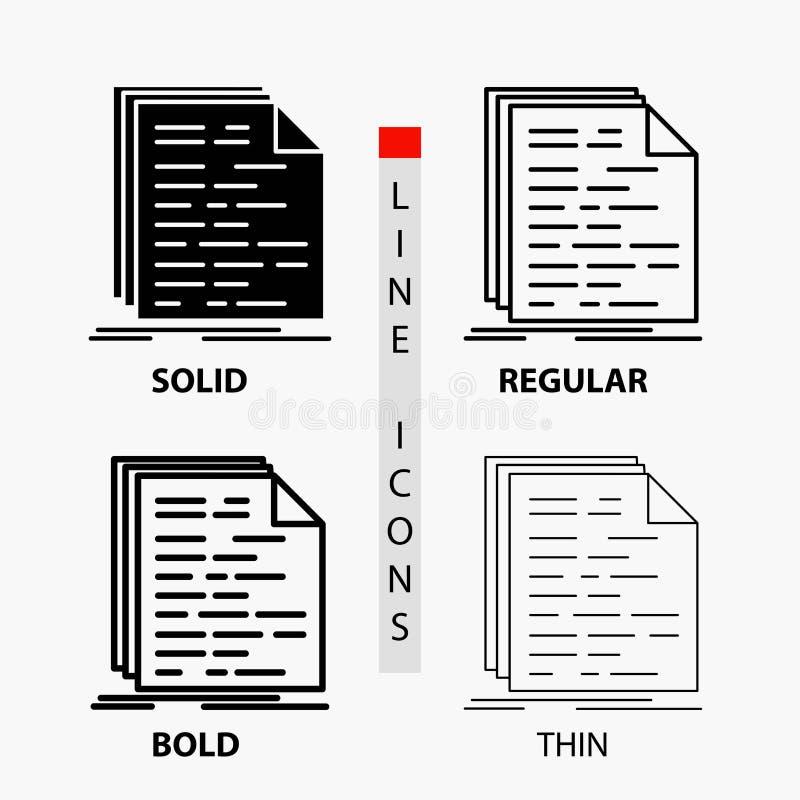 Código, codificação, doc, programação, ícone do roteiro na linha e no estilo finos, regulares, corajosos do Glyph Ilustra??o do v ilustração stock