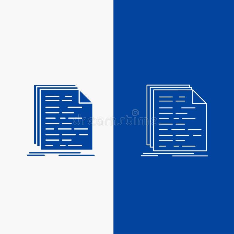 Código, codificação, doc, programação, botão da Web da linha do roteiro e do Glyph na bandeira vertical da cor azul para UI e UX, ilustração do vetor