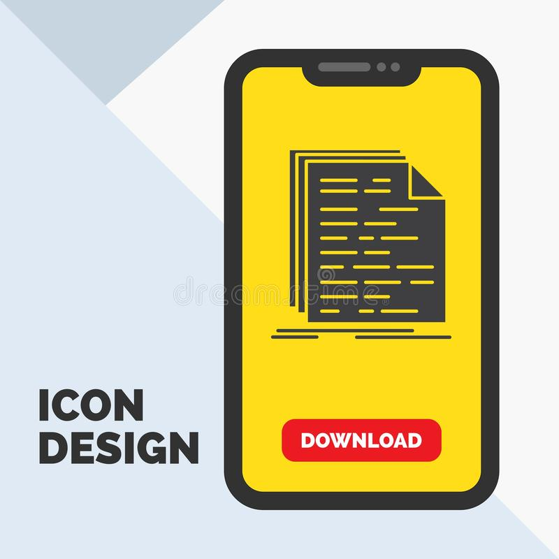 Código, codificação, doc, programando, ícone do Glyph do roteiro no móbil para a página da transferência Fundo amarelo ilustração stock