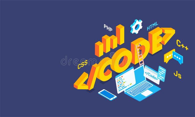 código con las muestras múltiples de las idiomas de codificación, equi del texto 3D del negocio libre illustration