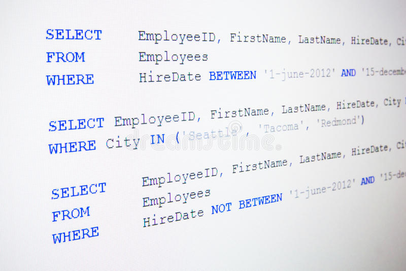 Código da sintaxe do SQL imagem de stock