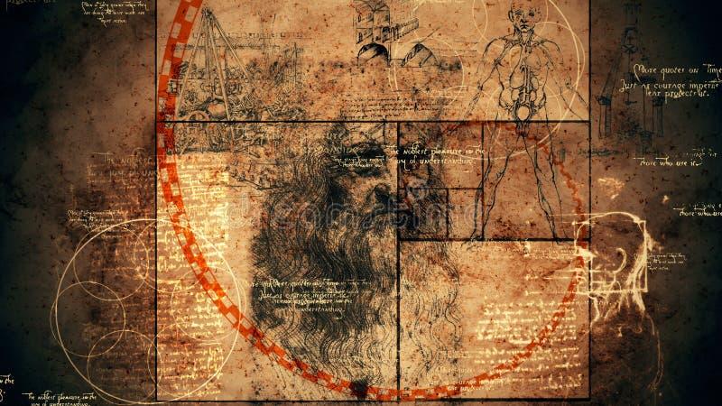 Código da Vinci, retrato y ratio de oro libre illustration