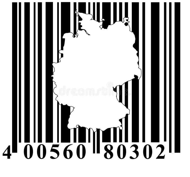 Código de barras com esboço de Alemanha ilustração stock