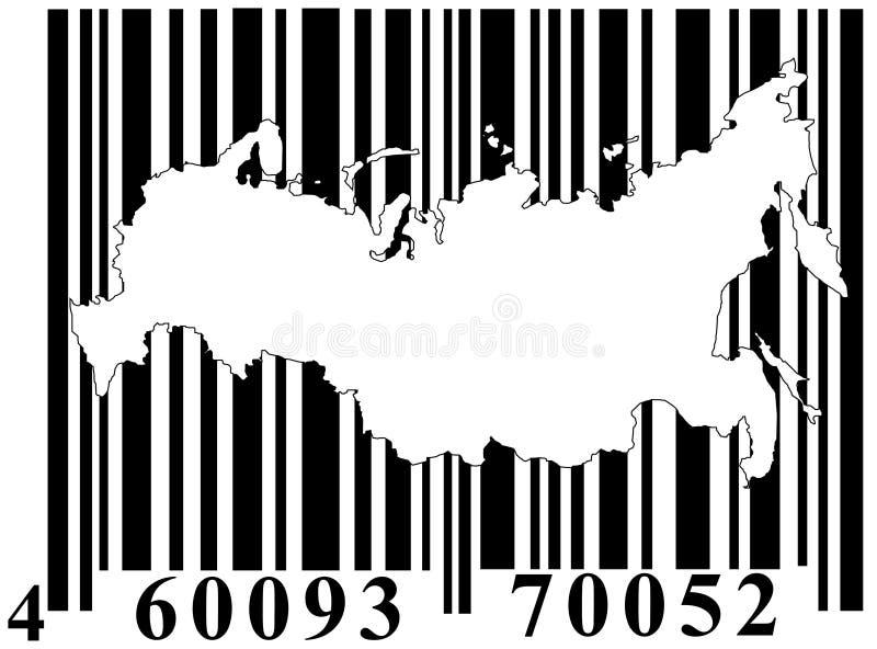 Código de barras com esboço de Rússia ilustração stock