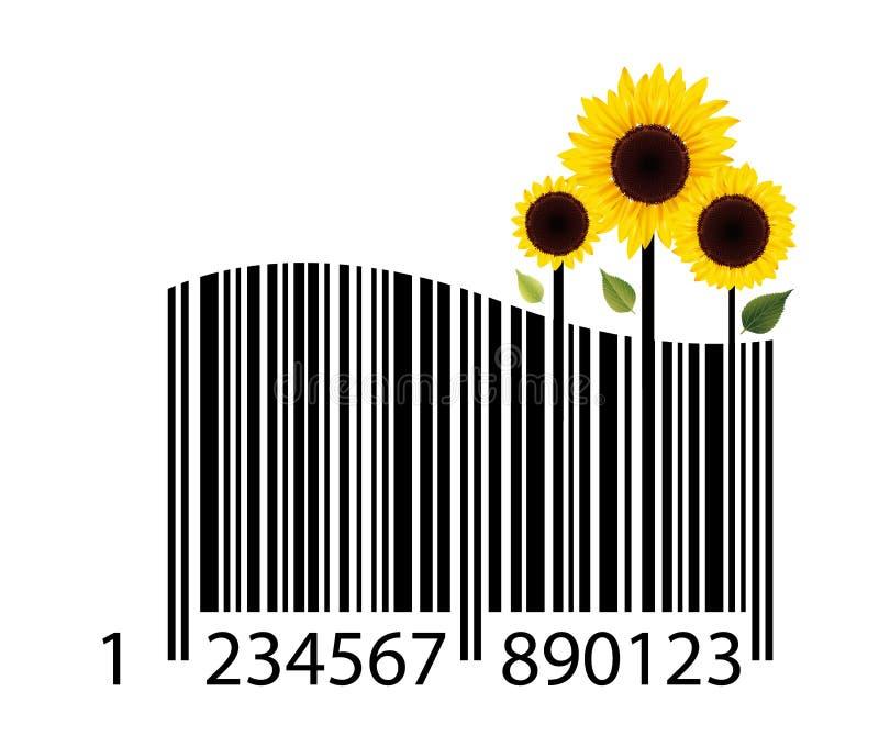Código de barras da flor ilustração stock