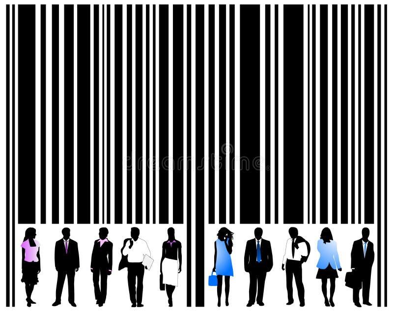 Código de barras e povos ilustração royalty free