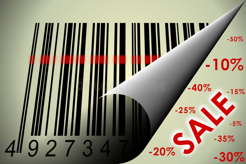 Código de barras e venda ilustração royalty free