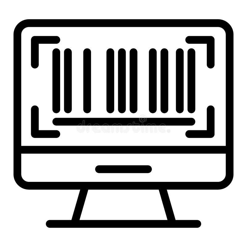 Código de barras en la línea icono de la pantalla Código de barras en el ejemplo del vector del monitor de computadora aislado en libre illustration