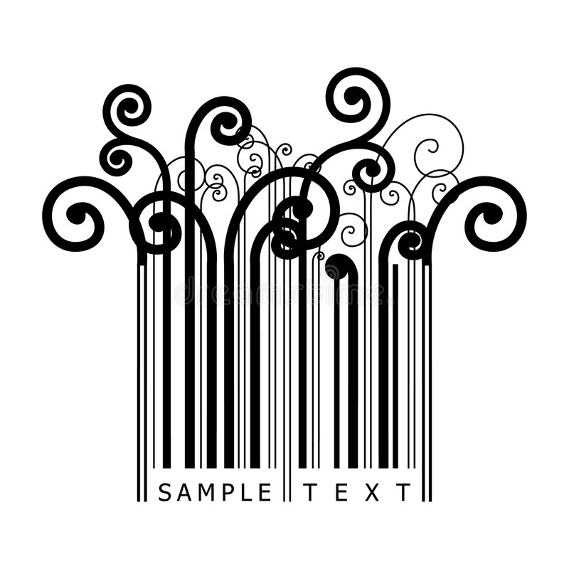 código de barras floral ilustração do vetor