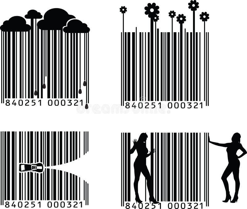 Código de barras quatro preto e branco ilustração do vetor